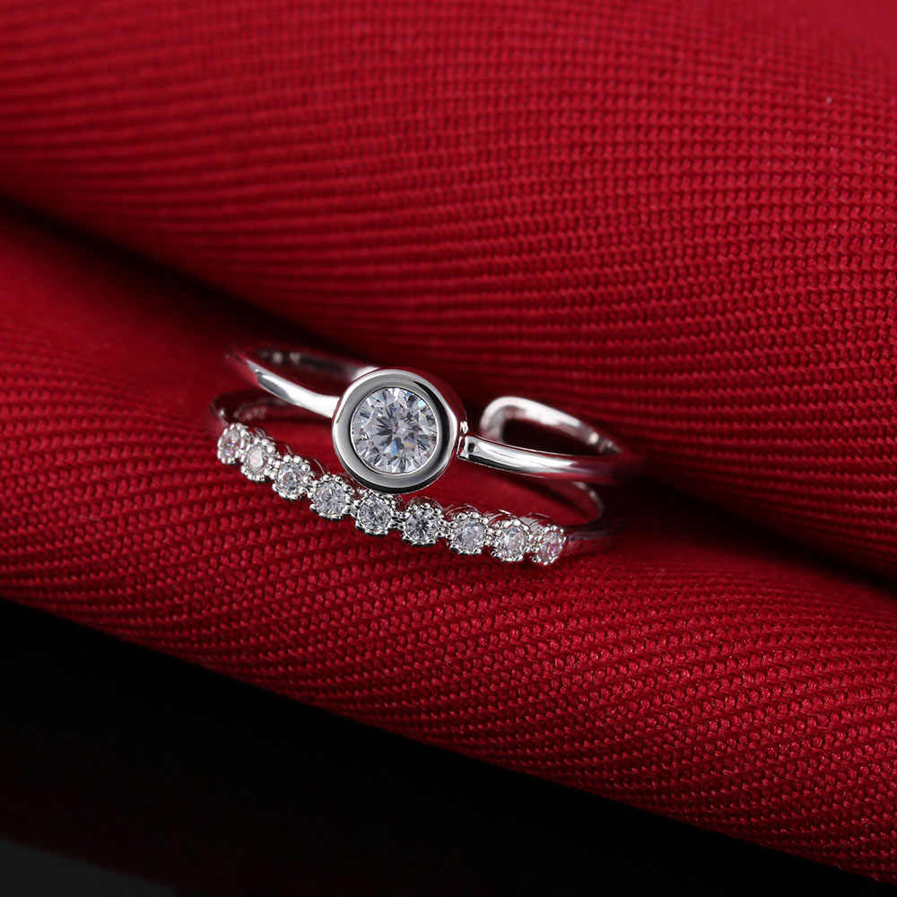 1 Pcs Fashion Silver Plated Austrian Crystal Zircon Adjustable Finger Rings for Elegant Women Jewelry Wedding
