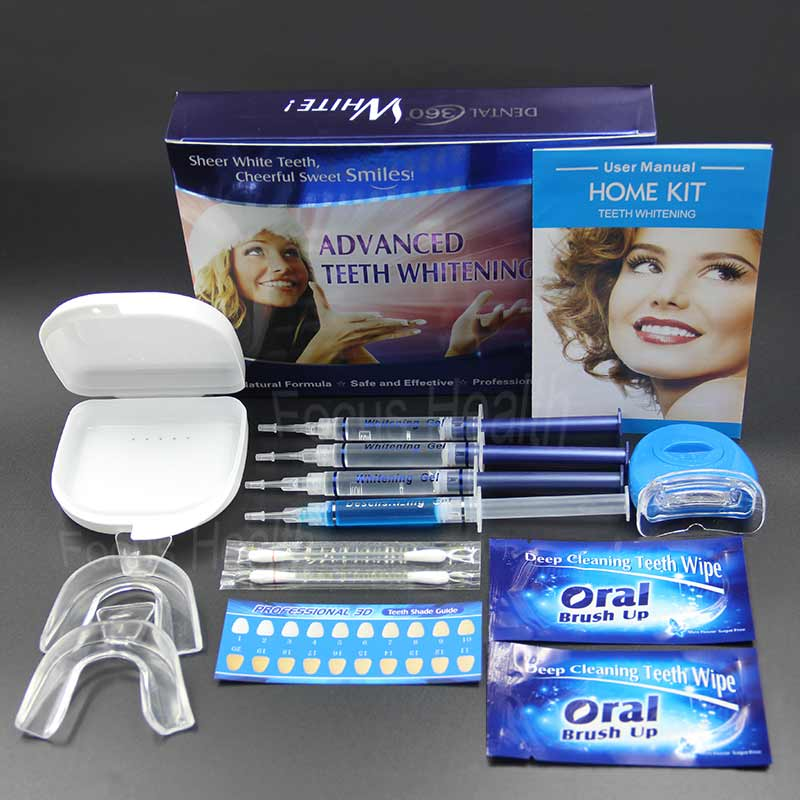 Effect Obvious Professional Teeth Whitening Kit With 4 Tubes Whitening Gel & 2 pcs Whitening Strips & 2 pcs Dental Tray & 1 pcs LED Light & 1 pcs Tray Box & 1 pcs Tooth Shade Guide Tooth Whitener Clareador Blanqueador Dental