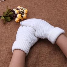 1 pair Women Girl Warm Wool Stretch Knit Gloves grey white Mittens