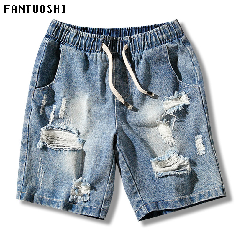 Summer Mens Denim   Shorts   New Regular Casual Knee Length   Short   Masculina Cotton Solid Straight Hole Jeans   Shorts   For Men Blue 5XL