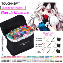 TOUCHNEW 30/40/60/80 Colors Artist Dual Head Art Sketch Markers Set For Manga Marker School Drawing Marker Pen Design Brush Pen цена