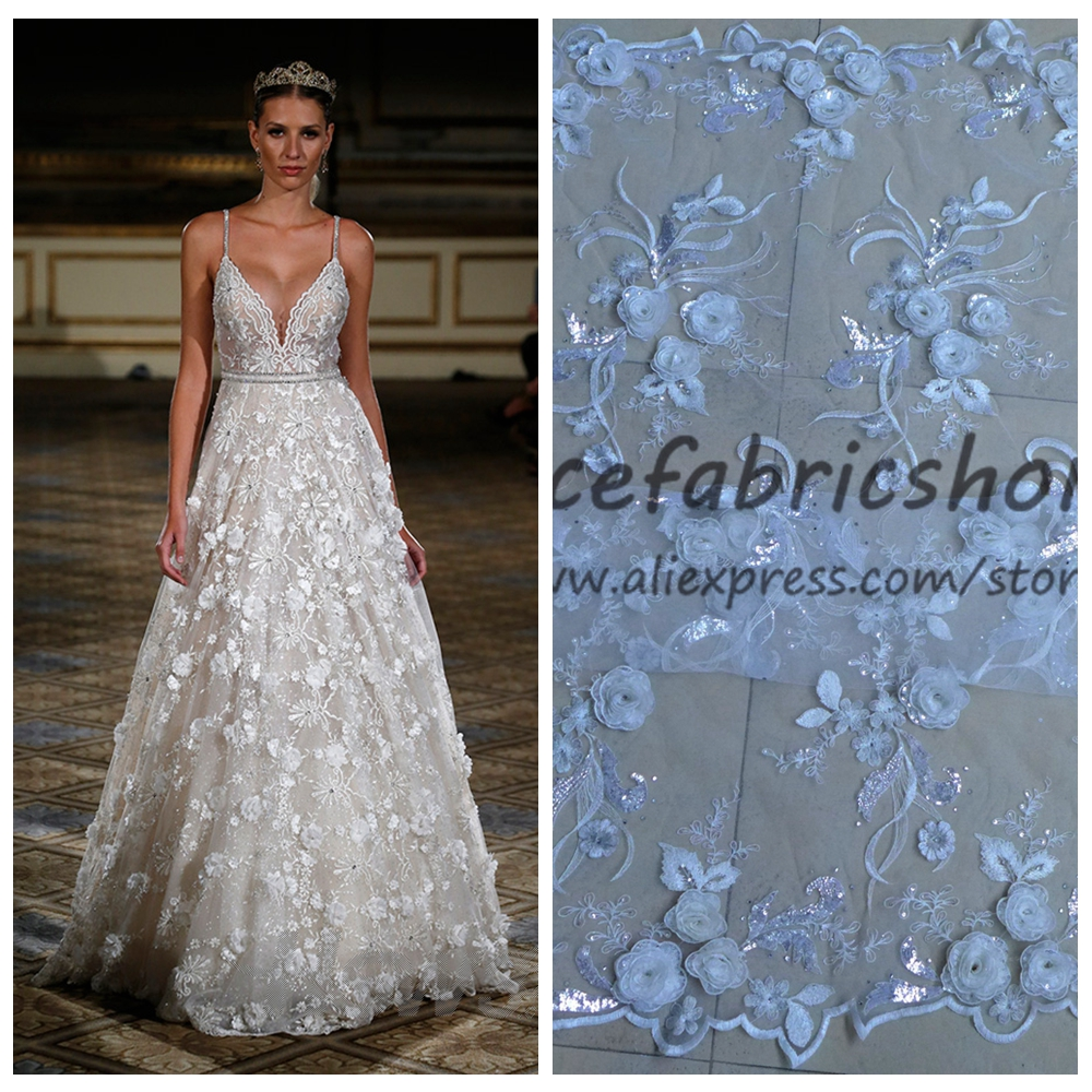 New fashion off white sparkling sequins 3D rose flowers on net ...