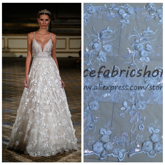 New Fashion Off White Sparkling Sequins Rose Flowers On Net Embroidery Fabric Bridal Evinging Show