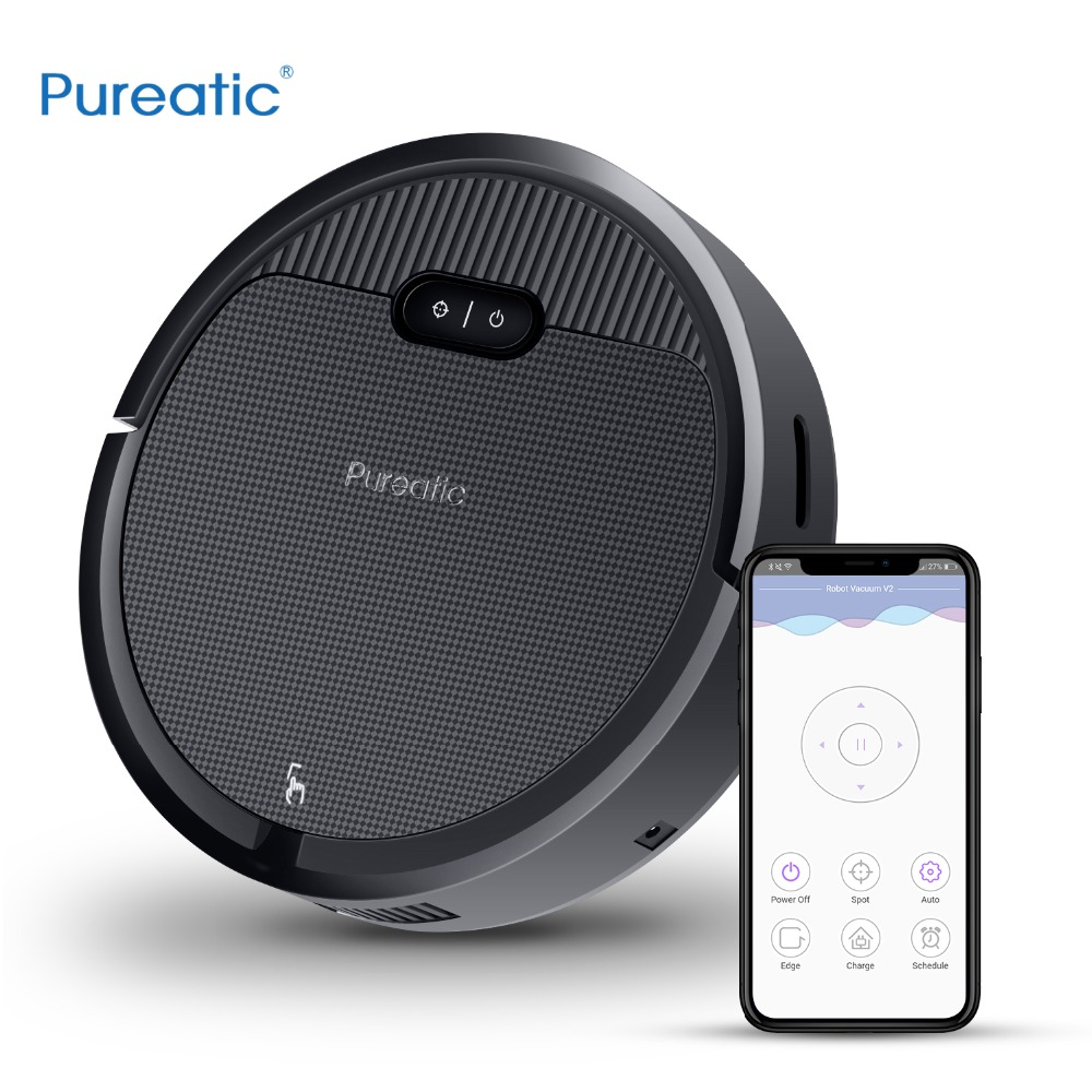 Pureatic V2 Intelligent Robot Vacuum Cleaner App Control Big Suction Automatic Recharge Plan time for Pet Hair Home with Mop