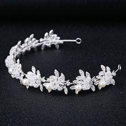 Повязка на голову с жемчугом для причастия, с кристаллами, тиара, для первого причастия, с цветами, лоза, головной убор для невесты