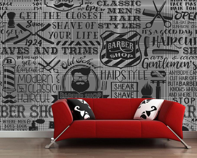 custom vintage wallpaper barber shop elements for the wall of the