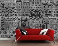 3D Retro Wallpaper Barber Shop Elements For The Wall Of The Barber Shop Sofa Living Room