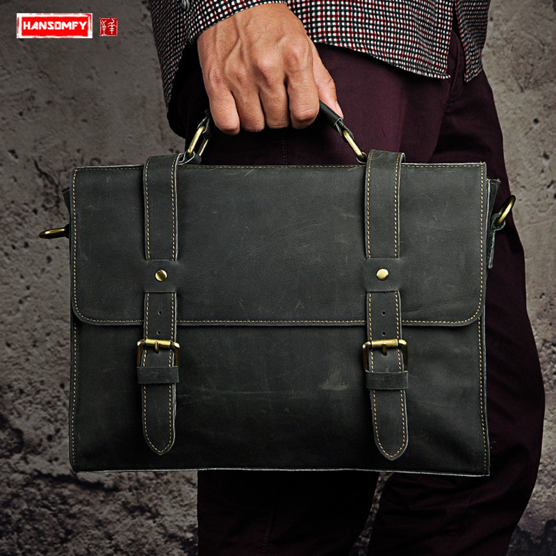 Crazy Horse Leather Men Briefcases Business 13 Inch Laptop Handbag Genuine Leather Crossbody Bag Portable Shoulder Messenger Bag