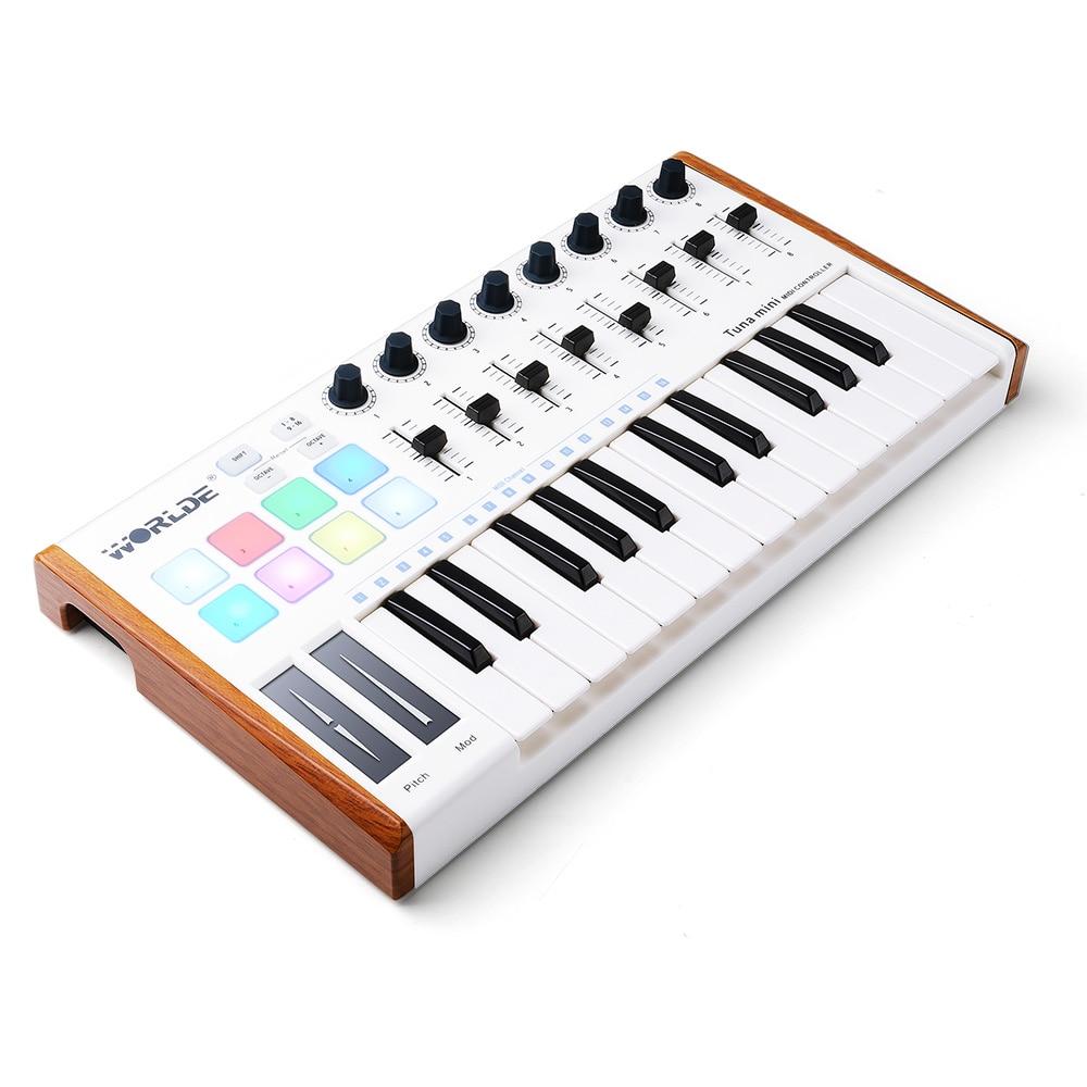 Worlde 25 ключ Портативный тунца мини USB MIDI контроллер клавиатуры (8 ручек/8 колодки/8 фейдеров) с Имитация дерева, педаль Интерфейс