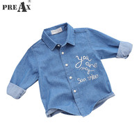 2018 Spring Boys Shirt Kids Denim Shirts Baby Boy Embroidery Letter Print Long Sleeve Top Tee