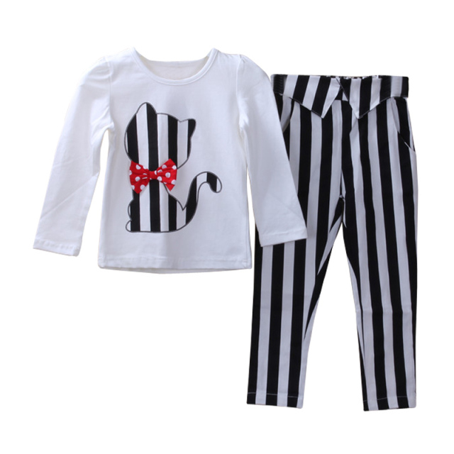 Autumn Baby Girl Clothes Cat Cartoon Long-Sleeve T-Shirt + Stripe Legging Kids Clothing Set Kids Casual Girls Set