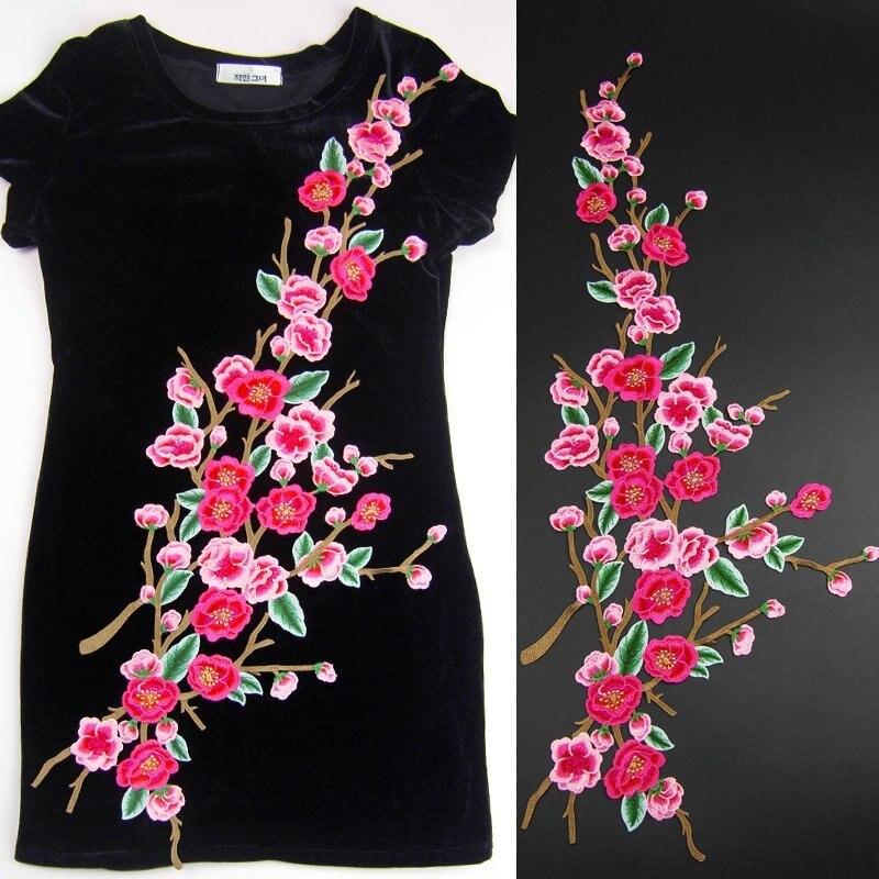 God kvalitet Stor brodert plomme 3D Blomster Blomsterlapper - Kunst, håndverk og sying