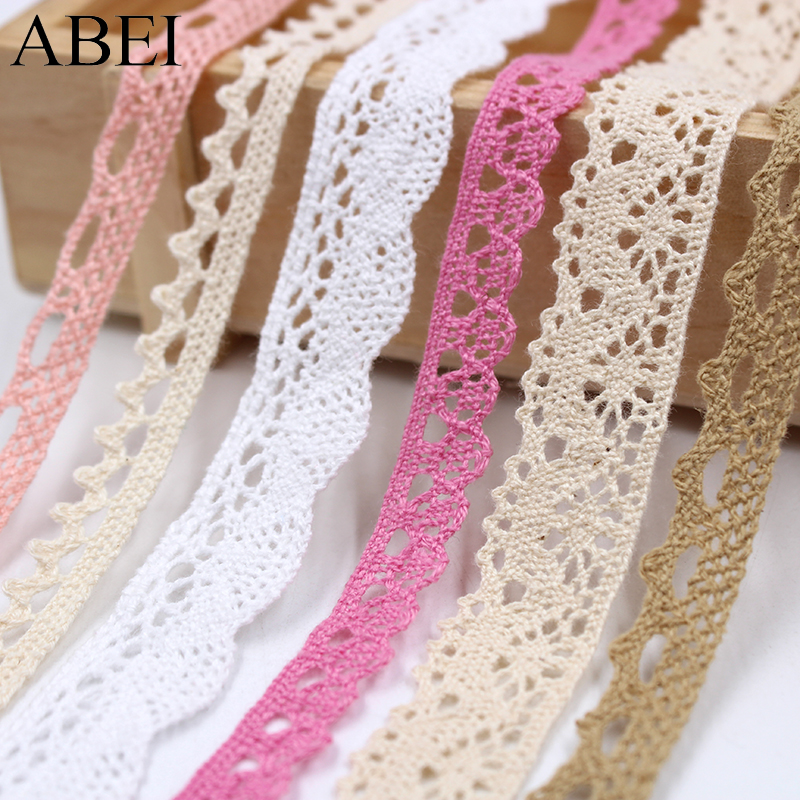 10yards/lot Diy Sew Apparel Accessories White Beige Cotton Lace Ribbon Handmade Cotton Lace Trims Wedding Scrapbook Decoration