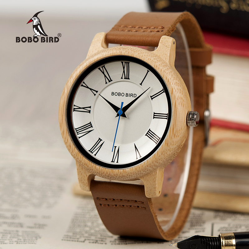 BOBO BIRD Leather Wood Watches Women Quartz Analog Men Watch Casual Cool Watch relogio masculino Gift for Lovers V-Q15 bobo bird l b08 bamboo wooden watches for men women casual wood dial face 2035 quartz watch silicone strap extra band as gift