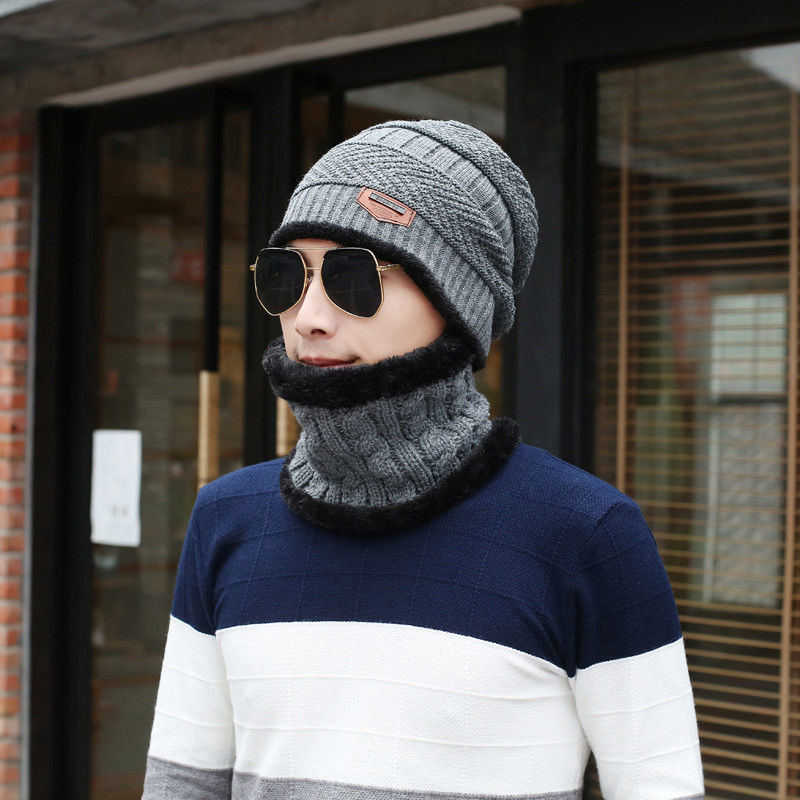 Apparel Accessories Fashion Men Camping Hat Winter Solid Beanie Baggy Warm Wool Fleece Ski Cap Scarf Neckerchief One Size For Adlut Men's Accessories