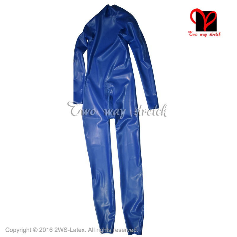 Blue Sexy Latex catsuit with shoulder and crotch zipper Unitard Sexy rubber Zentai overall Latex Catsuit