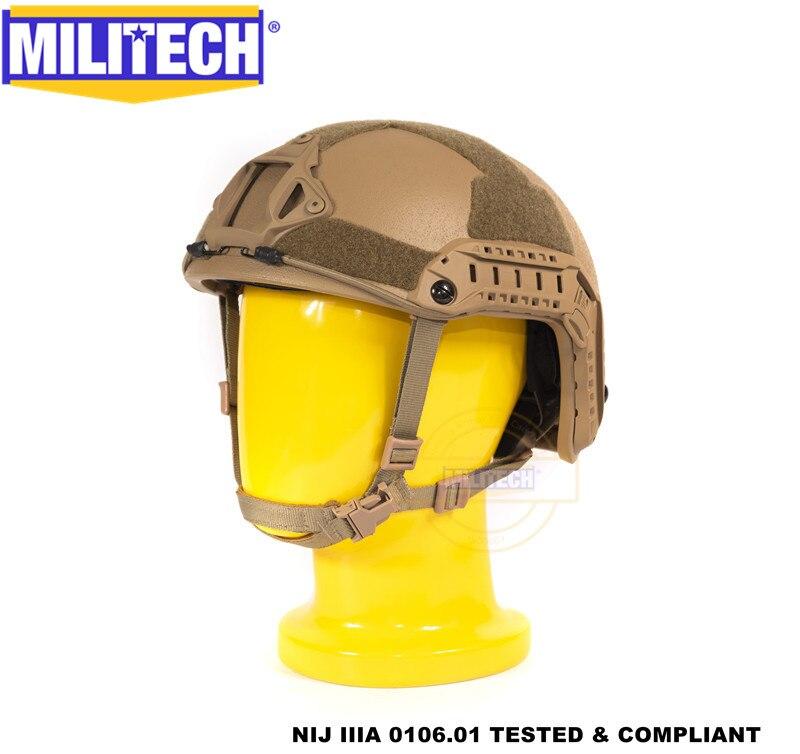 Militech Coyote Brown Super High Cut Deluxe Maritime NIJ Level IIIA 3A FAST Bulletproof Aramid Bullet Proof Ballistic Helmet CAG
