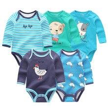 Body à manches longues en coton pour nouveau né, 5 pièces/lot, vêtements dhiver pour bébés, garçons et filles
