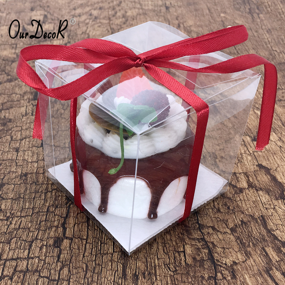 25pcs Clear PVC Square Box Gifts Box Party Candy Boxes Jewelry Packaging Wedding Party Favor Supplies 7.6cm x 7.6cm x7.6cm