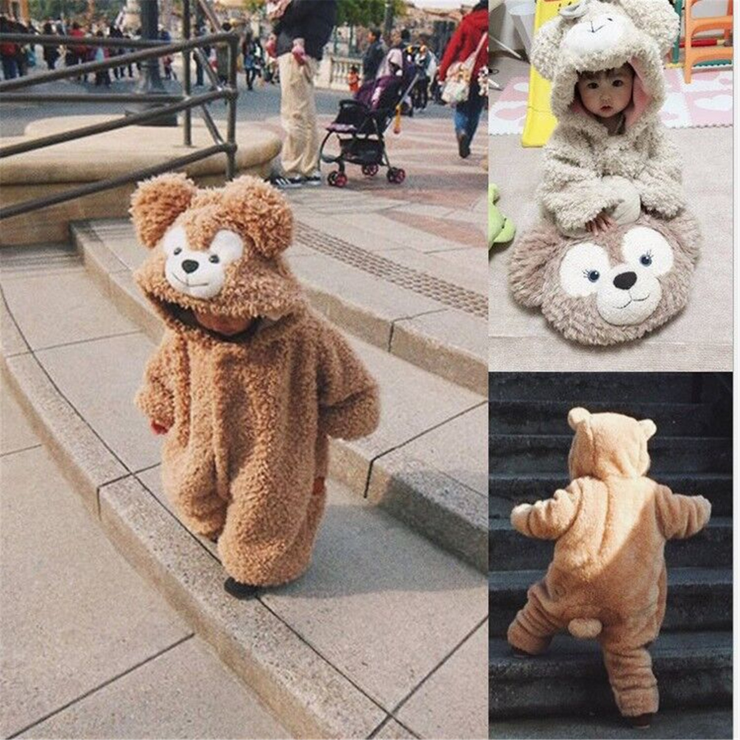 Androktones Children Duffy bear Onesie Kids Girls Boys Warm Soft Pamjams Animal Cosplay Pajamas Halloween Purim Costumes Romper
