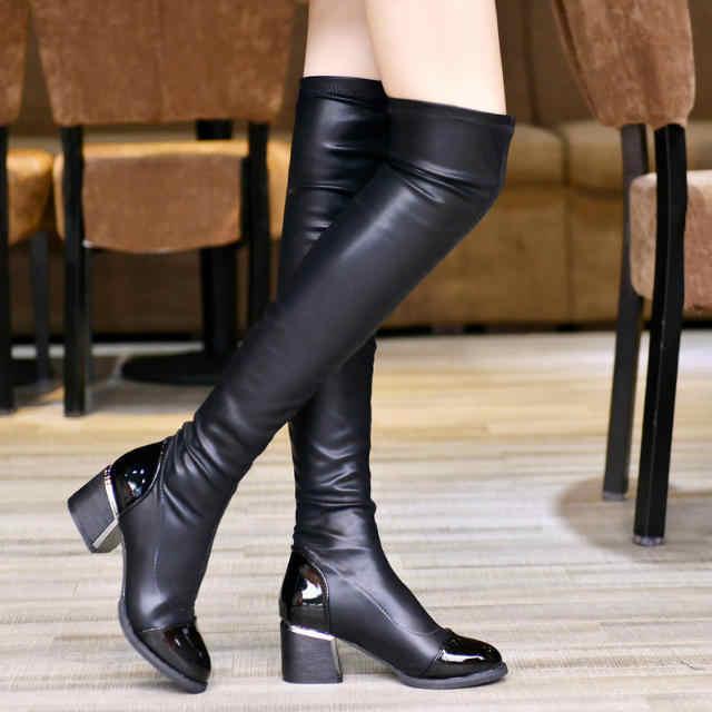 GOXPACER Diz Ayakkabı Kadınlar Seksi Ince Patent Deri Motosiklet Botları Kadın Yüksek Topuklu Moda Uzun Tüp Kış Rahat