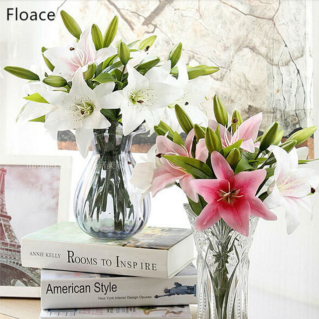11pcs 3 Heads Real Touch Pvc Artificial Lily Decorative Flower Home