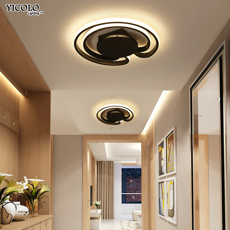 Round White Black Frame Modern Led Ceiling Light Ac85~265v Indoor Bedroom Kitchen Lamps Study Foyer Light Free Shipping Dimmable Ceiling Lights & Fans