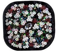 2piece Craft Floral Embroidery Rhinestones Patches Applique Beaded Sequin Motifs Patches For Clothes Bags Decorated Sewing