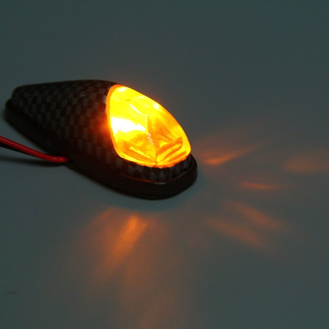 12V 1W Motorcycle Turning Signal Indicator Light Motorbike LED Blinker Carbon Fiber Cornering Lamp – 2Pcs Long Life Span Bright