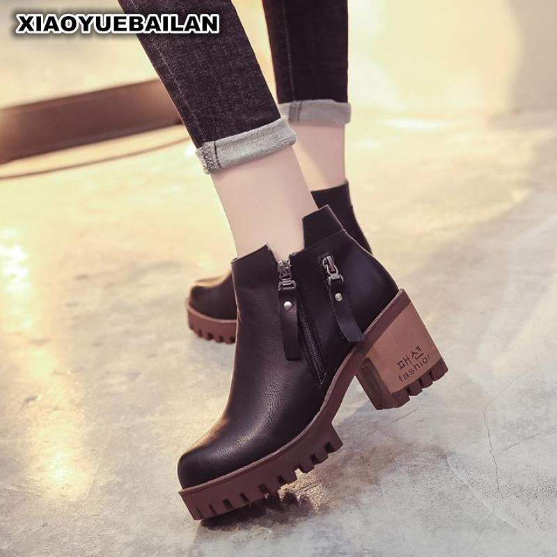 2017 New Winter Boots Bootss Side Zipper High-heeled Female With Thick Head Martin2017 New Winter Boots Bootss Side Zipper High-heeled Female With Thick Head Martin