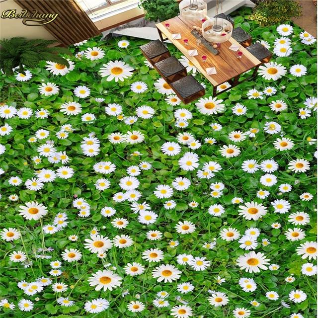 Beibehang Custom Photo 3D Floor Painting Wallpaper Aesthetic Wild Chrysanthemum Plant Grassland Flower Pasta Papel De