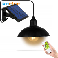 Outdoor Solar Powered Chandelier Pendant Light Dim Remote Control Metal Shade Retro E27 Bulb Hanging Shed Lamp Garden Decoration