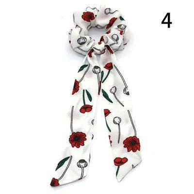Модный летний шарф «конский хвост», эластичная лента для волос для женщин, бантики для волос, резинки для волос, резинки для волос с цветочным принтом, ленты для волос - Цвет: 004