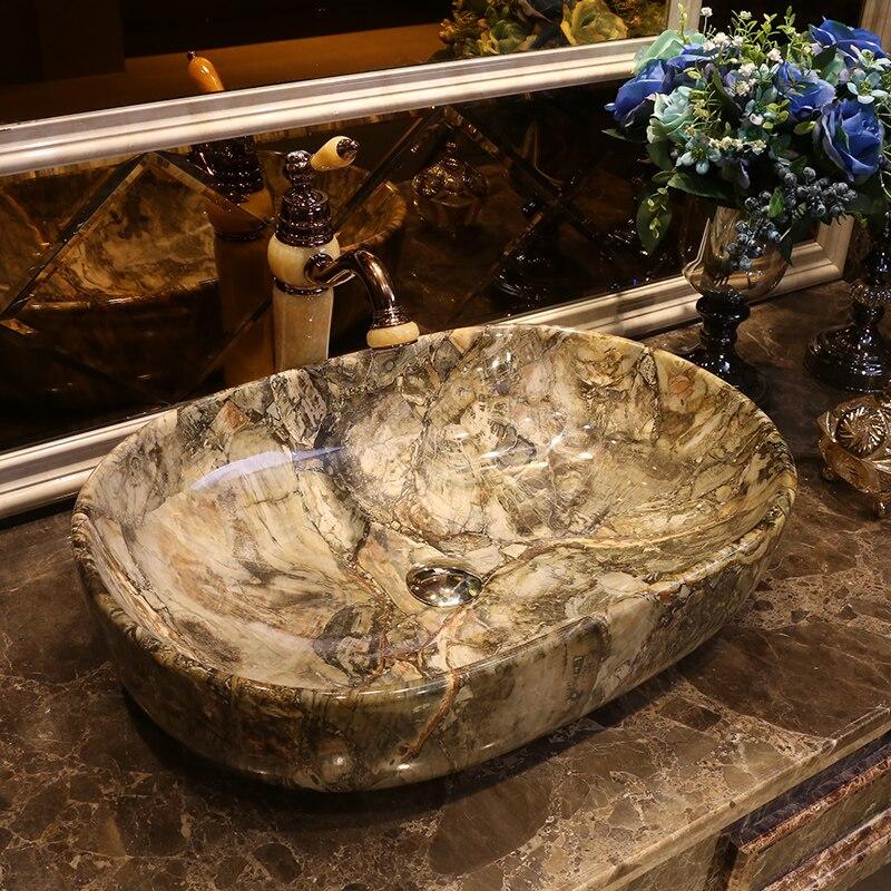 imitation stone Oval shape Porcelain wash basin sink ceramic basin sink Counter Top Wash Basin bathroom ceramic art porcelain sink (3)