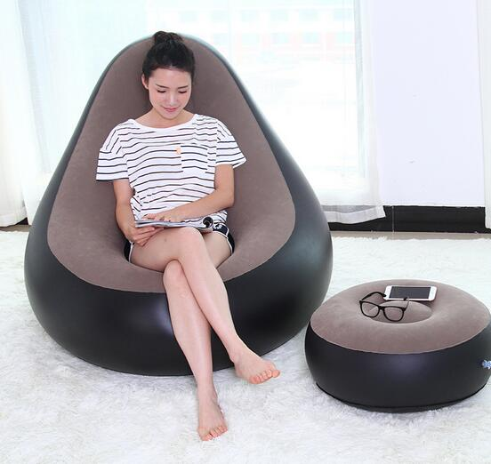 Eco Friendly Azo Free Flocked Pvc Inflatable Bean Bag Chair With Foot Stoolfeetrest Inflatated Beanbag Strong Living Room Chair