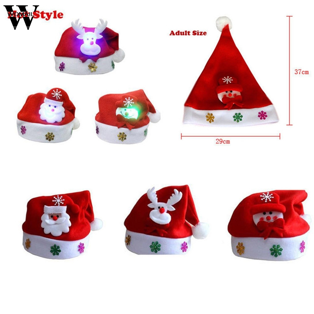 Womail Adult LED Hat for Christmas 2017 Fashion Xmas Hat Santa Claus Reindeer Snowman Xmas Gifts Cap OT20