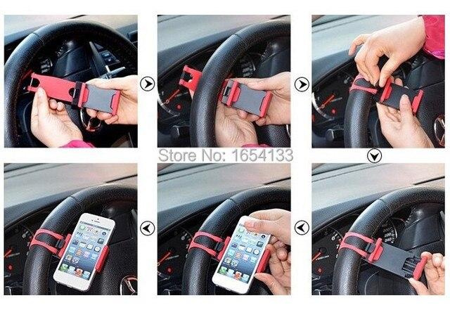 Car Steering Wheel Mount Holder Rubber Band