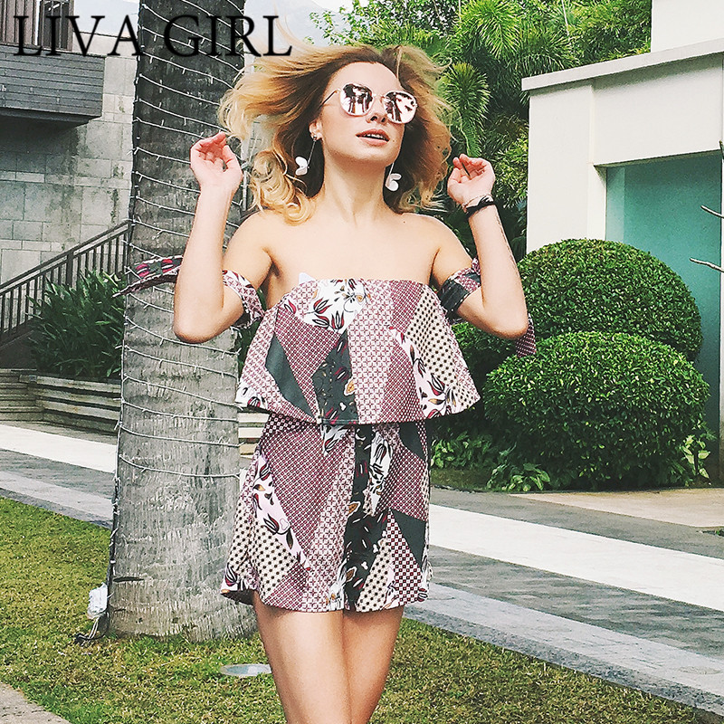 8e46a7467 LIVAGIRL Summer Beach Pants Ruffle Off Shoulder Jumpsuit Romper Print Tube  Top Loose Jumpsuit Sexy Off