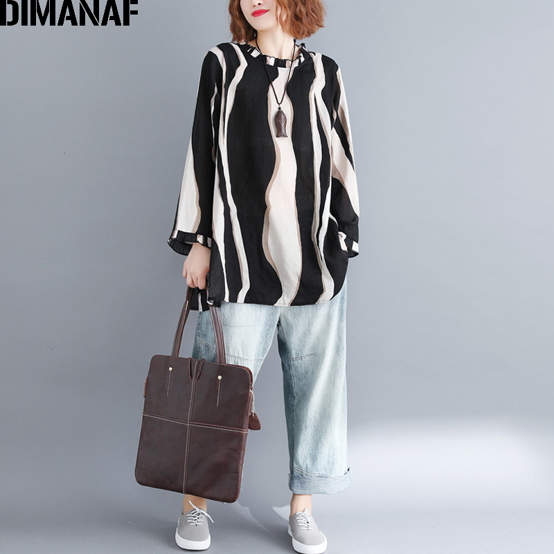DIMANAF Women's Blouse Shirt Female Top Plus Size Loose Casual Cotton Fashion Print Striped Lady Clothes Tunic Black 2018 Autumn