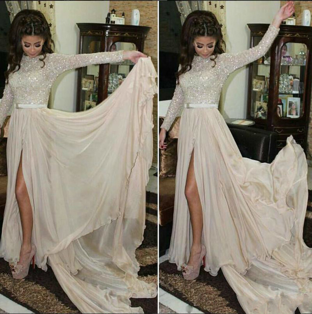 BONJEAN High Split Crystal Beach Prom Dresses 2019 Long Sleeves Sequined Chiffon Vestido de Gala Sexy Formal Arabic Party Gowns