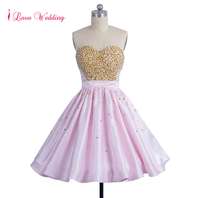 35caf67b775 2018 New Arrival Puffy Pink Prom Dresses Sweetheart Neckline Gold Sequin  Beaded Ruffles Satin Short Party Dresses Knee Length