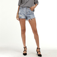 2017 Plus Size XS 5XL European And American Summer Wind Female Blue High Waist Denim Shorts