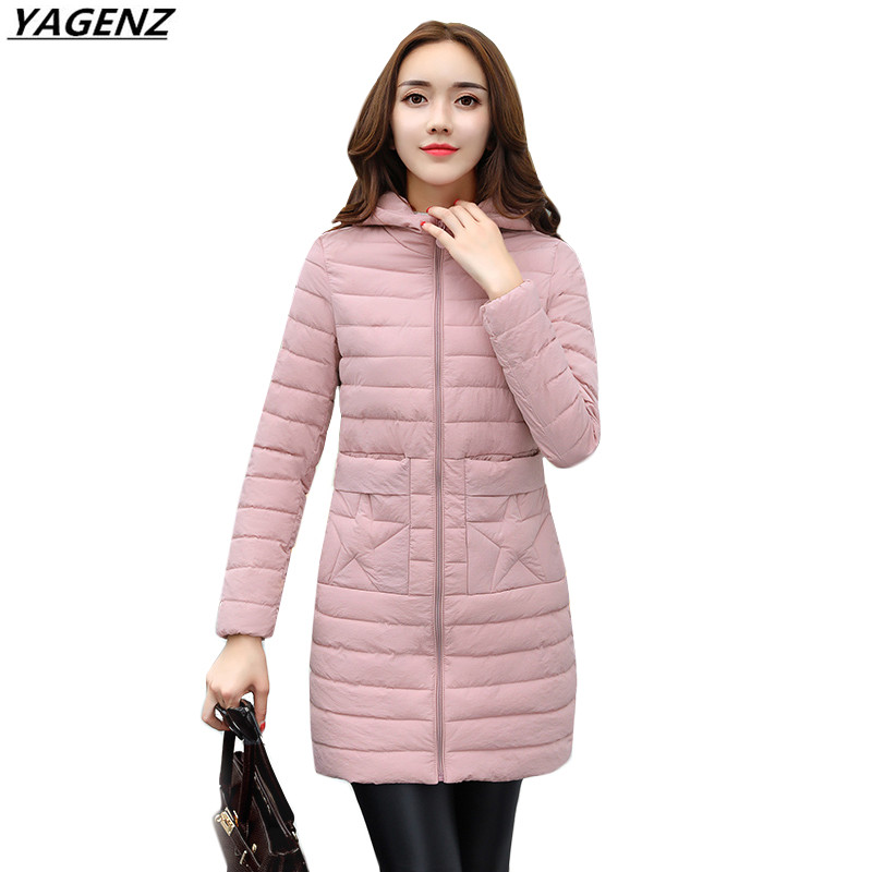 Women Winter Jacket 2017New Medium Long Thin Parkas Down Cotton Jacket Large Size Hooded Outerwear Women Basic Coats YAGENZ K549 winter jackets coats new down cotton jacket women parkas thicken hooded outerwear slim large size medium long female coat k616