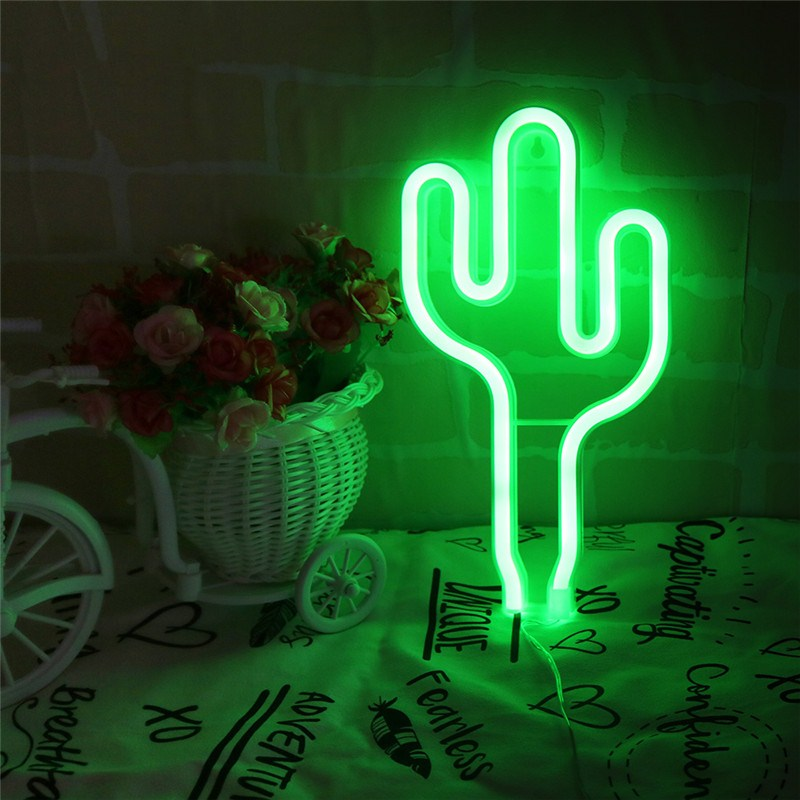 Jiaderui LED Cactus Neon Night Light 2018 New Wall Lamp Baby Bedroom Christmas New Year Wedding Party Decoration Light USB Power