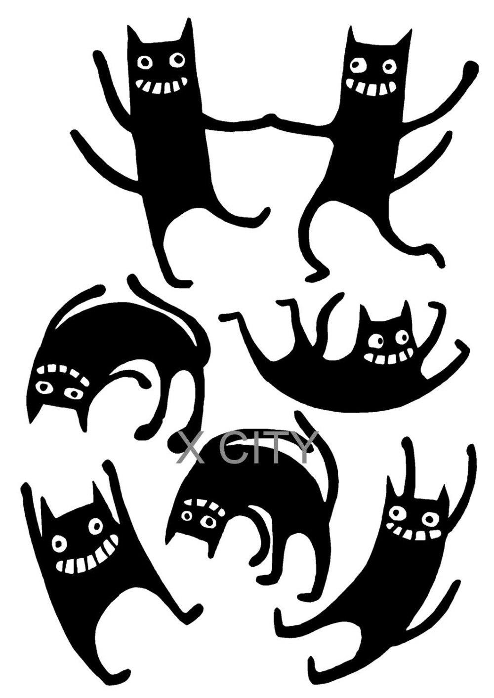 Impertinentes Cats Art Black Wall Adesivo Decalque Vinil Removível Cut Transferência Stencil Decoração Da Casa Quarto Janela Porta De Espelho Carro