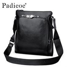 Padieoe Men's Real Cow Leather Shoulder Bag Handbag Luxury Genuine Leather Vintage Crossbody Bag Hot Sale Male Messenger Bags