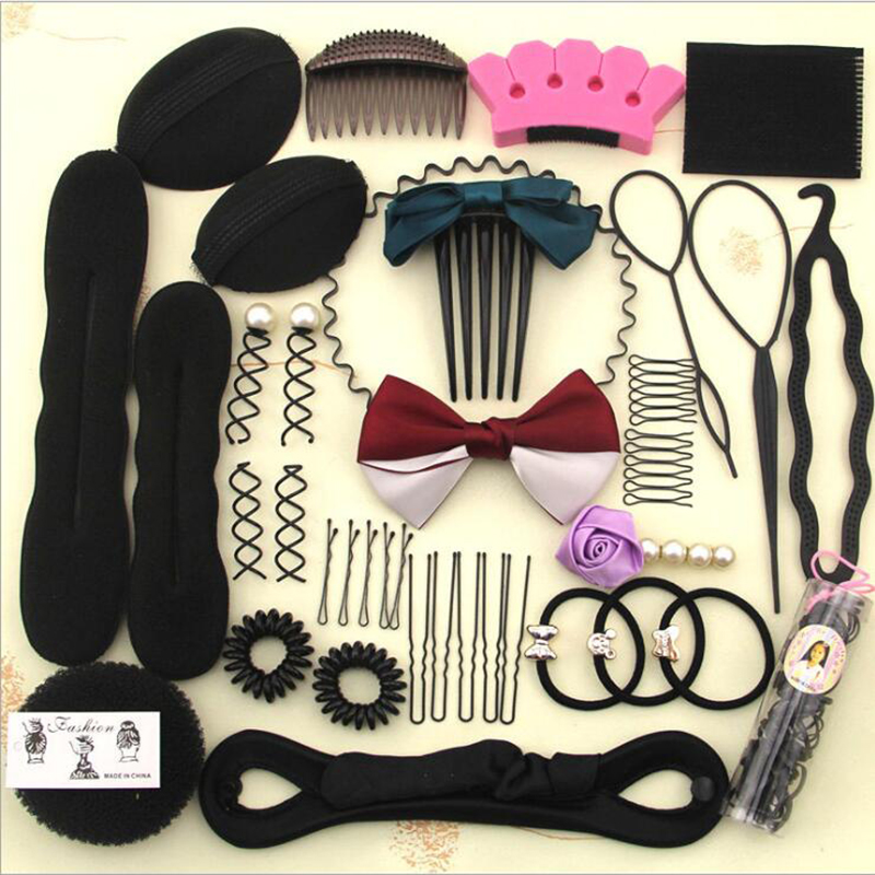 JS 1 full set Women Girl Lady Elastic Clamping Entrainment Tied Hair Weaving Hairstyle Braiders 6 style for choose