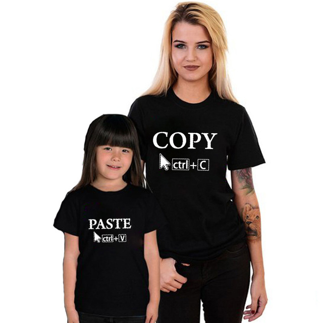 fe2edbfb025 EnjoytheSpirit Couple Tshirt Copy   Paste Cute Mother and Daughter Matching  T-Shirts Fashion Good Quality Crewneck Short Sleeve