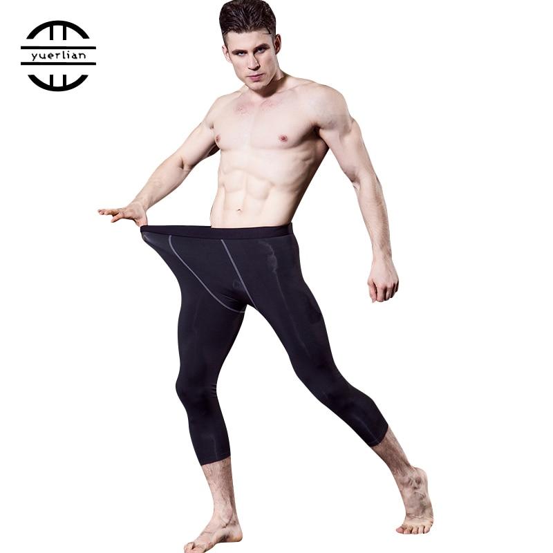 Компрессионные штаны высокого качества, спортивные мужские колготки, леггинсы для бодибилдинга, дышащие штаны для фитнеса, спортзала, 3/4, че...
