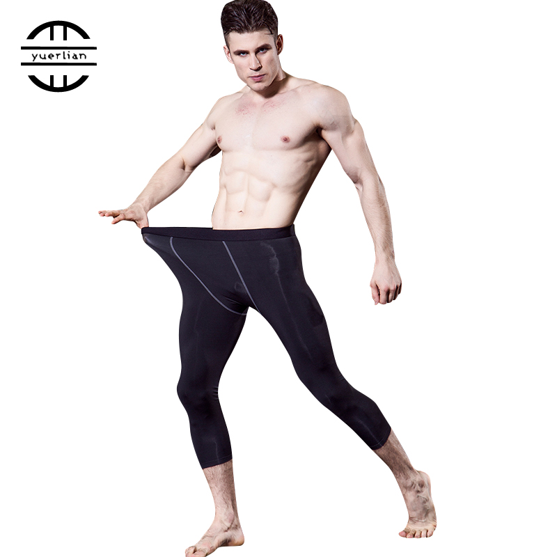 High Quality Compression Pants Sports Men Tights leggings Bodybuilding breathable Fitness Gym 3/4 Trousers Black Running Pants 2018 new high quality jogger pants men fitness bodybuilding gyms pants for runners clothing autumn sweat trousers britches